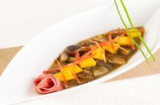 Soupe de champignons et jambon de Parme