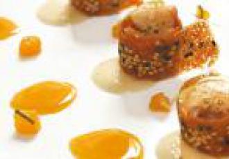 Crevettes roses crues réduction de clémentines et mousse de mascarpone