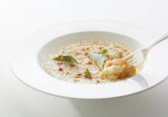 Risotto crevette crue et corail de crustacés par Andrea Berton