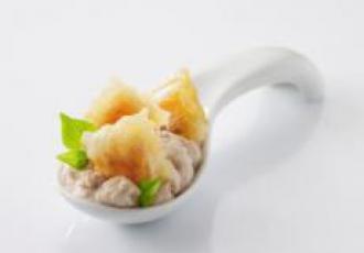 Crème de thon et ravioles tomate mozzarella en cuillère