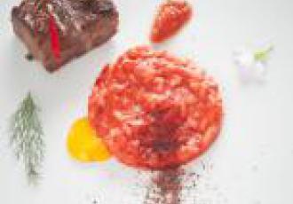Osso bucco, risotto, fleurs de sauge, fenouil, pulpe tomate Mutti