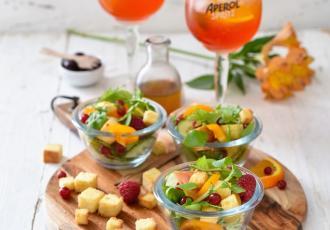 Salade aux fruits rouges et sa vinaigrette aux cerises amarena